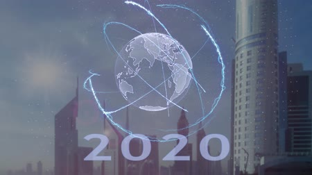 talep : 2020 text with 3d hologram of the planet Earth against the backdrop of the modern metropolis. Futuristic animation concept Stok Video