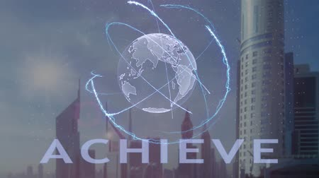 текст : Achieve text with 3d hologram of the planet Earth against the backdrop of the modern metropolis. Futuristic animation concept