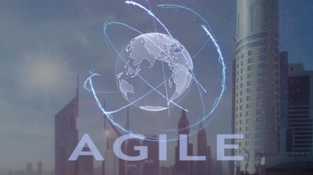 fejlesztése : Agile text with 3d hologram of the planet Earth against the backdrop of the modern metropolis. Futuristic animation concept