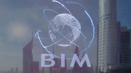 implementation : BIM text with 3d hologram of the planet Earth against the backdrop of the modern metropolis. Futuristic animation concept
