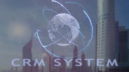 bağlılık : CRM system text with 3d hologram of the planet Earth against the backdrop of the modern metropolis. Futuristic animation concept Stok Video