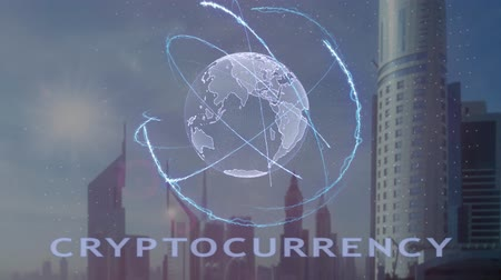 data mining : Cryptocurrency text with 3d hologram of the planet Earth against the backdrop of the modern metropolis. Futuristic animation concept