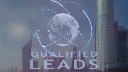 recrutamento : Qualified leads text with 3d hologram of the planet Earth against the backdrop of the modern metropolis. Futuristic animation concept Stock Footage