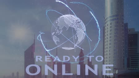 přihrádka : Ready to online text with 3d hologram of the planet Earth against the backdrop of the modern metropolis. Futuristic animation concept
