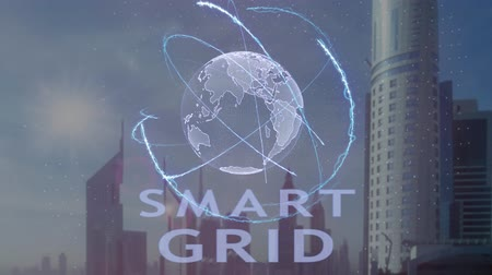 hatékonyság : Smart Grid text with 3d hologram of the planet Earth against the backdrop of the modern metropolis. Futuristic animation concept