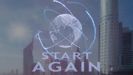 yine : Start Again text with 3d hologram of the planet Earth against the backdrop of the modern metropolis. Futuristic animation concept