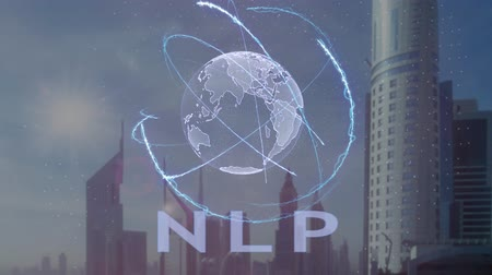 neuro : NLP text with 3d hologram of the planet Earth against the backdrop of the modern metropolis. Futuristic animation concept