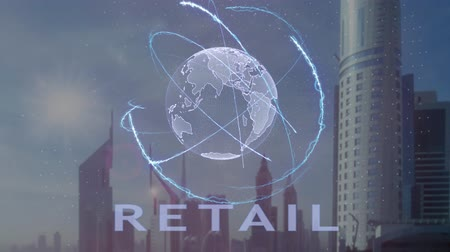 expenditure : Retail text with 3d hologram of the planet Earth against the backdrop of the modern metropolis. Futuristic animation concept Stock Footage