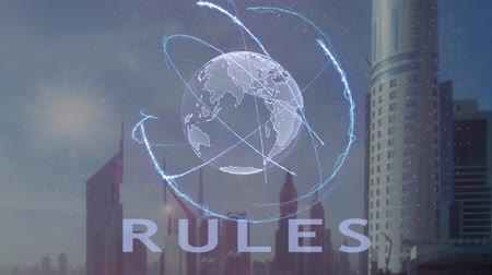 talep : Rules text with 3d hologram of the planet Earth against the backdrop of the modern metropolis. Futuristic animation concept Stok Video