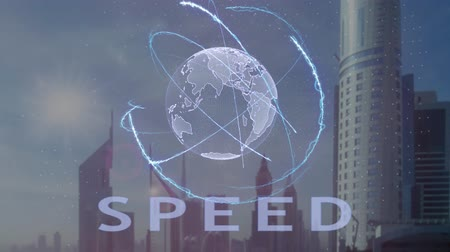 стремление : Speed text with 3d hologram of the planet Earth against the backdrop of the modern metropolis. Futuristic animation concept