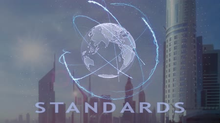 megfelel : Standards text with 3d hologram of the planet Earth against the backdrop of the modern metropolis. Futuristic animation concept