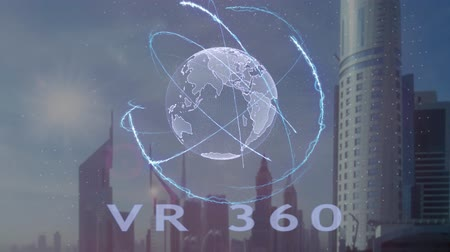grãos : VR 360 text with 3d hologram of the planet Earth against the backdrop of the modern metropolis. Futuristic animation concept Stock Footage