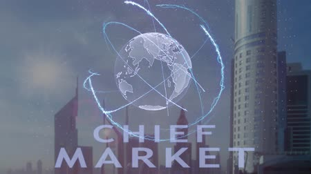 uygulanması : Chief market text with 3d hologram of the planet Earth against the backdrop of the modern metropolis. Futuristic animation concept Stok Video