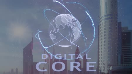 odpowiedzialność : Digital Core text with 3d hologram of the planet Earth against the backdrop of the modern metropolis. Futuristic animation concept