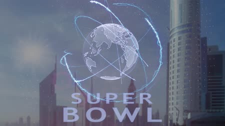 playoff : Super bowl text with 3d hologram of the planet Earth against the backdrop of the modern metropolis. Futuristic animation concept Stock Footage
