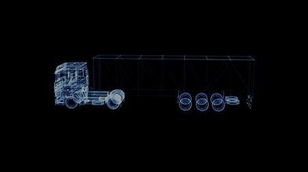 tir : The hologram of a particle modern TIR Truck. 3D animation of large goods vehicle on a black background with a seamless loop
