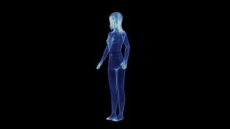 innovation : The hologram of a rotating young female body of particles. 3D animation of sexy girl on a black background with a seamless loop