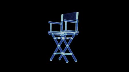 filmregisseur : The hologram of a directors chair. 3D animation of headmaster chair on a black background with a seamless loop Stockvideo