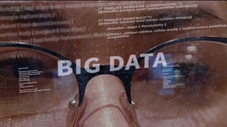 html : Big Data text on the background of female software developer. Eyes of woman with glasses are looking at programming network code space abstract technologies connecting global data network Stock Footage