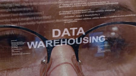 optimalizace : Data Warehousing text on the background of female software developer. Eyes of woman with glasses are looking at programming network code space abstract technologies connecting global data network