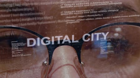 consumo : Digital city text on the background of female software developer. Eyes of woman with glasses are looking at programming network code space abstract technologies connecting global data network