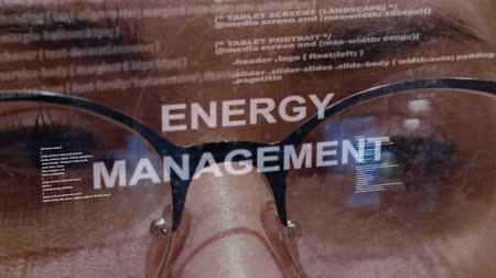 visão global : Energy Management text on the background of female software developer. Eyes of woman with glasses are looking at programming network code space abstract technologies connecting global data network