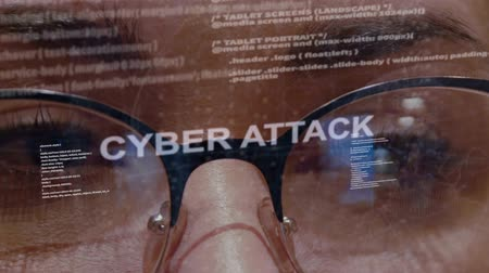 botok : Cyber attack text on the background of female software developer. Eyes of woman with glasses are looking at programming network code space abstract technologies connecting global data network