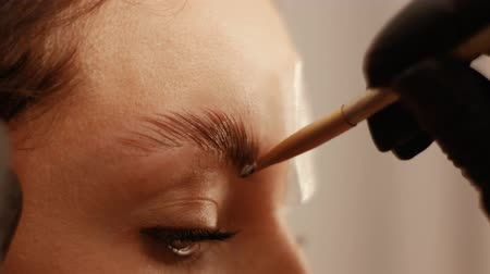 kaşları : Close up of female cosmetologist covers the eyebrows of a beautiful patient with a special remedy. Part of eyebrow lamination procedure