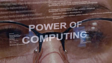 rekesz : Power of computing text on the background of female software developer. Eyes of woman with glasses are looking at programming network code space abstract technologies connecting global data network
