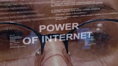 rekesz : Power of internet text on the background of female software developer. Eyes of woman with glasses are looking at programming network code space abstract technologies connecting global data network Stock mozgókép