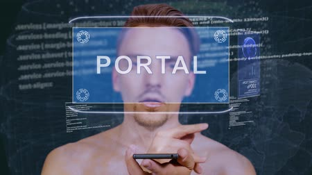 portaal : Young man interacts with a conceptual HUD hologram with text Portal. Guy with future technology mobile screen on background of the program code Stockvideo