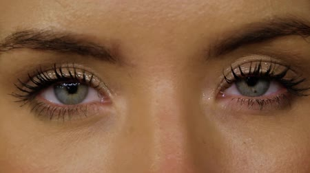 umutlu : Beautiful girl with blue eyes and gold makeup close-up. Young woman opens her eyes and looks straight into the frame Stok Video