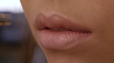 curtimento : Macro of female make-up artist applies an airbrush concealer to the lips of a client. Professional airbrush makeup close up