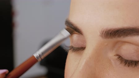 contornos : Close-up of professional makeup artist draws eyebrows with a special eyebrow brush of a beautiful girl. Client woman in beauty salon doing eyebrows makeup Vídeos