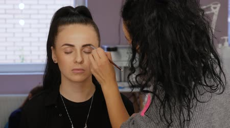 contornos : Client woman in beauty salon doing eyebrows makeup. Professional makeup artist draws eyebrows with a special eyebrow brush of a beautiful girl