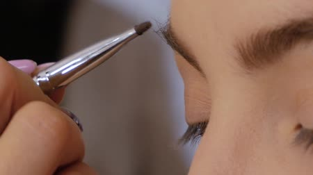 contornos : Professional makeup artist draws eyebrows with a special eyebrow brush of a beautiful girl. Client woman in beauty salon doing eyebrows makeup
