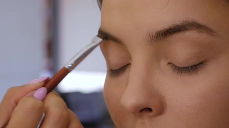 contornos : Client woman in beauty salon doing eyebrows makeup. Close-up of professional makeup artist draws eyebrows with a special eyebrow brush of a beautiful girl