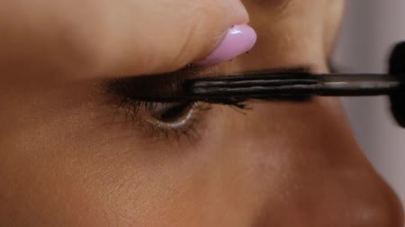 mãos : Makeup artist professionally applying mascara to client. Beautiful brunette uses mascara to make eyelashes brown eyes