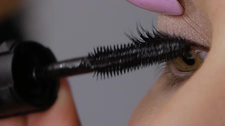 aplikatör : Slowmotion of makeup artist professionally applying mascara to client. Beautiful woman uses mascara to make eyelashes green-brown eyes