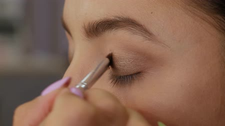 oczy : Woman client in beauty salon doing makeup close-up. Professional makeup artist applies a brush to the upper eyelid of a beautiful girl with a brush Wideo