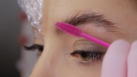 стегать : Professional Eyebrow Lamination Procedure. Female cosmetologist combs with a brush and covers the eyebrows of a beautiful patient with polyethylene