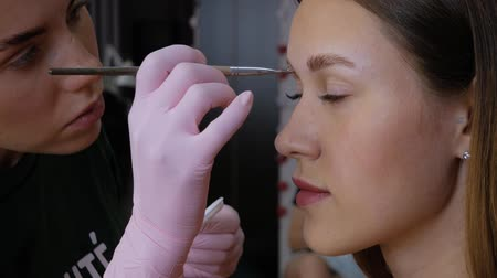 брови : Part of the eyebrow lamination procedure. Woman beautician applies paint with a brush on the eyebrows of a beautiful patient