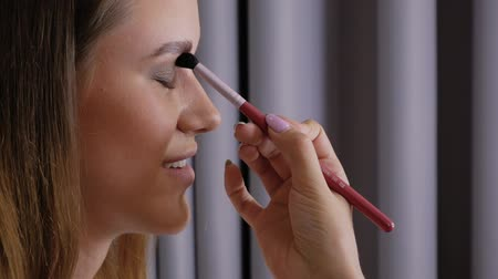 contornos : Hand of professional makeup artist applies a brush to the upper eyelid of left eye beautiful girl with a brush. Client woman in beauty salon doing makeup close-up slow motion Vídeos