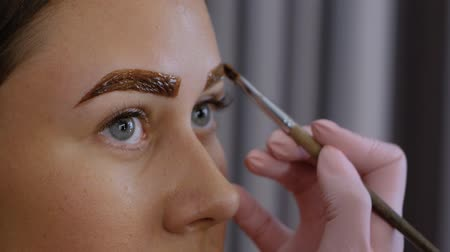 longer : Female beautician hand applies paint with a brush on the eyebrows of a beautiful patient. Part of the eyebrow lamination procedure