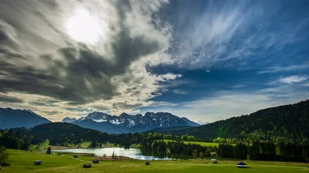 grande angular : Timelapse of moving clouds over beautiful landscape in Germany Vídeos