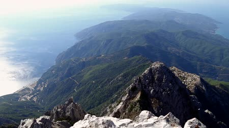 Panoramic aerial view from the top of Mount Athos