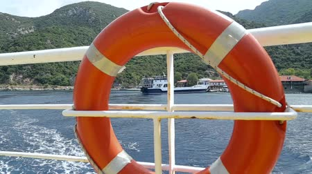 lifebuoy : A rescue belt on a ferryboat Stock Footage