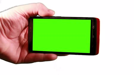 contact opnemen : 1431 smart Phone met groene Screen.mov Stockvideo