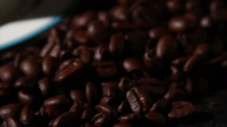üdítő : 1584 Coffee Beans and Coffee Cup.mov Stock mozgókép