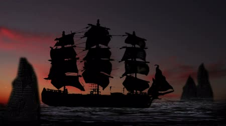 bola de fogo : 1217 Pirate Sailboat at Sunset.mov